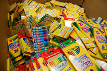 Supply drives help AGFT collect basic school needs like crayons, glue, colored pencils and more.